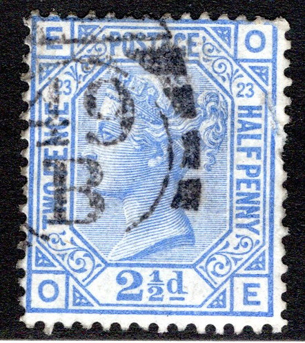 Scott 82, SG157, plate 23, 2.5d, Great Britain Postage, pulled perf