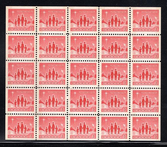 434aq Scott, 3c red, Christmas, Star of Bethlehem, VF, Miniature Pane of 25(5x5