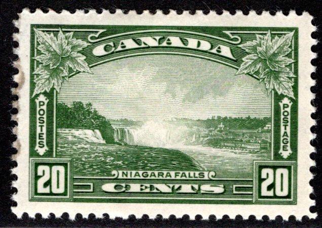 225 Scott - 20c olive green, XF/SUP, MLHOG, Niagara Falls, Canada Postage Stamp