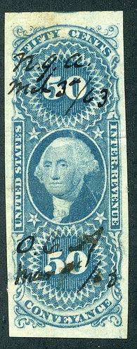 Scott R54a,1862-71 50c, Conveyance, blue, XF, some minor creasing