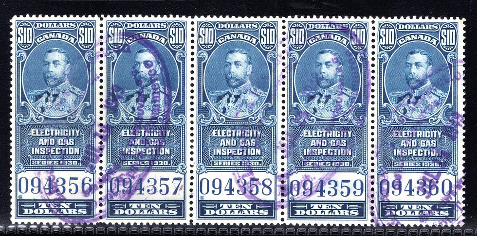 van Dam FEG11, $10 blue, Electricity & Gas Inspection, strip of 5, 1930, George