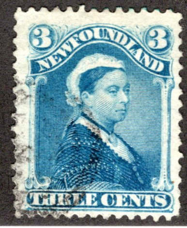 45, NSSC, Newfoundland, 3c, blue, Queen Victoria, Used, F
