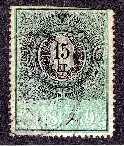 Forbin 181- Austria 1879 Revenue 15 kr. Stempelmarke