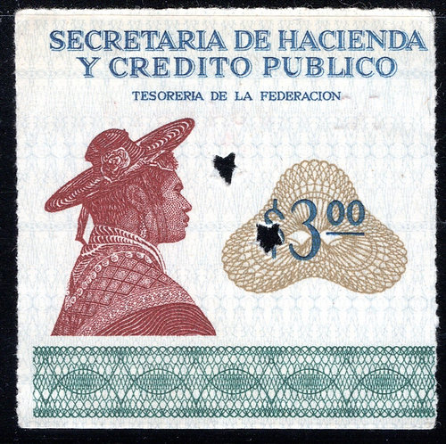 """Mexico, EN 8 """"D"""", UNLISTED VARIETY, Not included in """"Mexico's Revenue Stamps"""""""