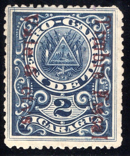 RH152, H152, Nicaragua Telegraph, 15c on 5c (in dark red) on '2' dark blue