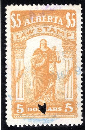 van Dam AL26 - Used, lightly cancelled, VF - $5 yellow ochre - 1907-1910- Law S