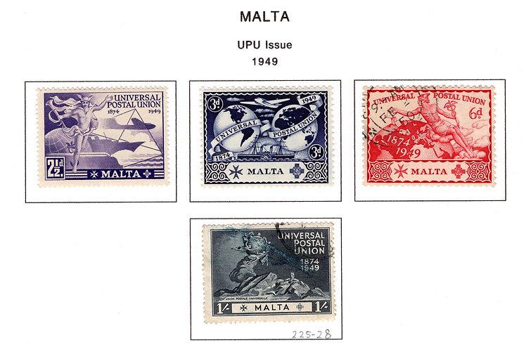 225-228 Malta, MLHOG and Used, UPU Issue, 1949, 226-226 MLHOG and 227-228 Used