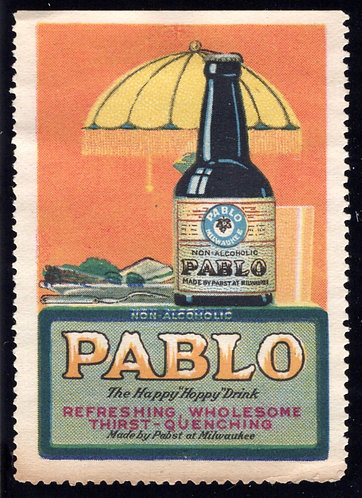 Pabst, Milwaukee, Pablo Drink (non-alcoholic) Poster / Cinderella stamp, MNG