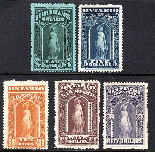 van Dam OL61-65 Set, Canada, Ontario, MNG, Law Stamps , C/V $145.00 Mint or Used
