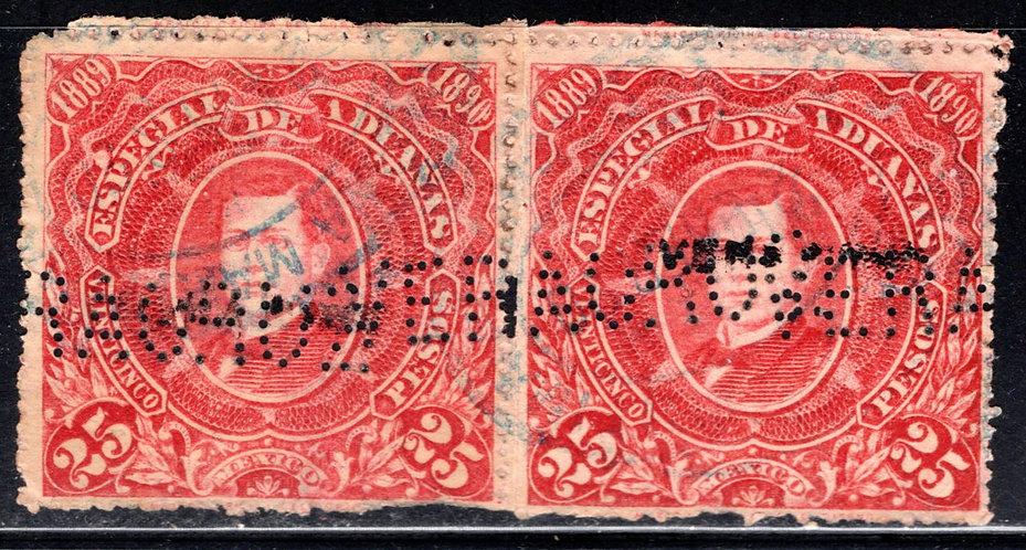 "AD 52, MEXICO, 1889, Customs, Aduanas, 25P, Perfin ""Veracruz"""