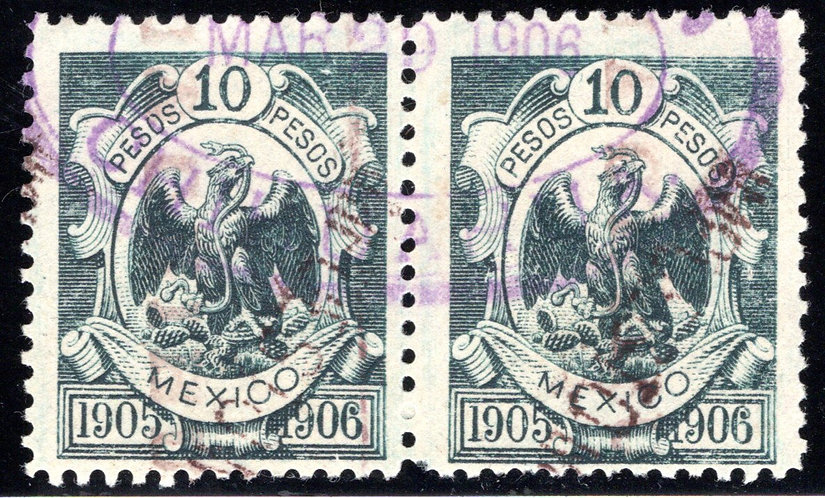 """R 257C, Mexico, 10P, 1905-1906, """"IMPUESTO"""" seen more clearly on right stamp."""