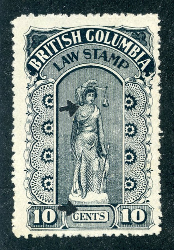 van Dam BCL16a British Columbia Law Stamp - 10c - Fourth Series 1905-12 - pinper