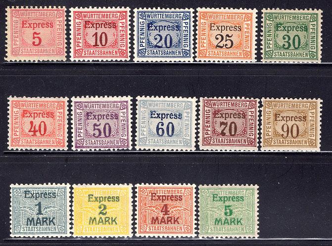 WURTTEMBERG Staatsbahnen Express , Revenue Railway Stamps, MHOG, 14 different