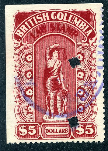 van Dam BCL27 - $5 Crimson-British Columbia Law Stamp - 1912-1926 Fifth Series