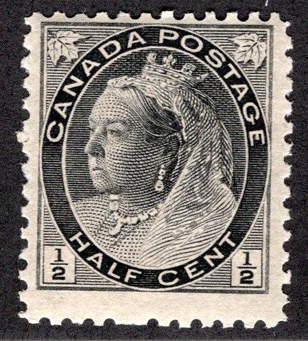 "74, 1/2c Queen Victoria ""Numeral"" Issue, MNHOG, F, Canada Postage Stamp"