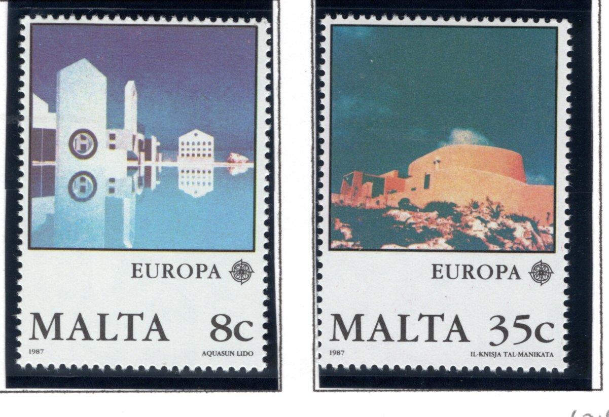 694-695 Malta, Limestone Buildings Stamp Set, 1987, MNHOG