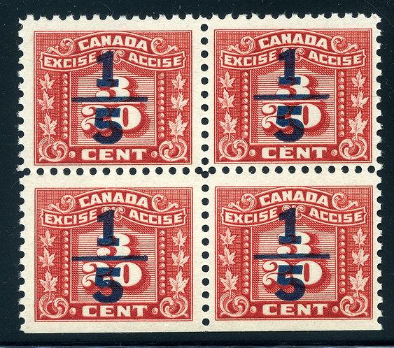 van Dam FX103 - 1/5¢ on 3/20¢- MNH - CORNER Block of 4