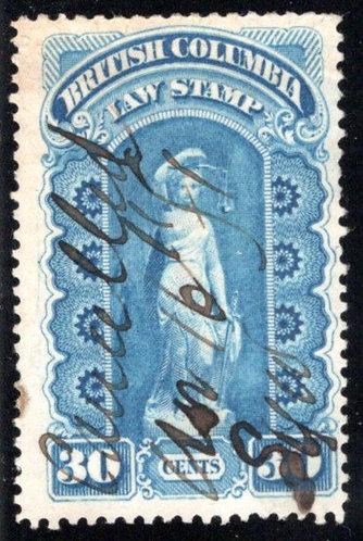 BCL2, 30c, used, British Columbia Stamp Law Revenue Stamp
