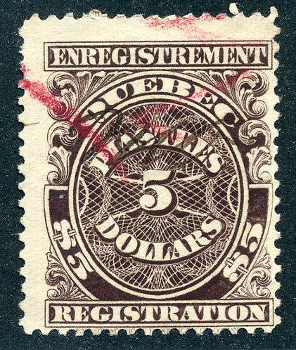 van Dam QR24 - Used - $5 Brown - Quebec 1912 Registration