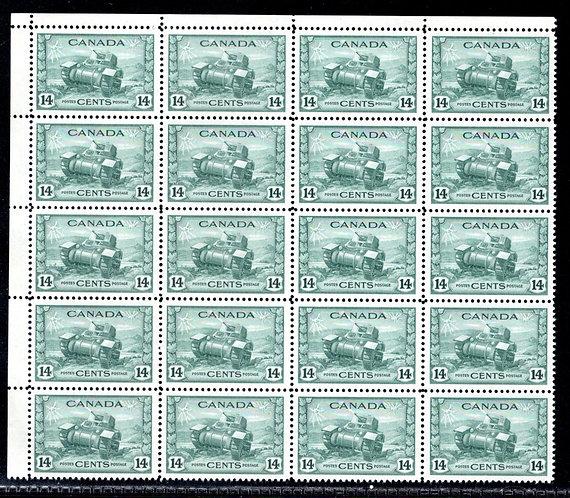 259 Scott, Canada, 14c MNHOG, EF, KGVI War Issue, Part Sheet of 16 incl UL PB