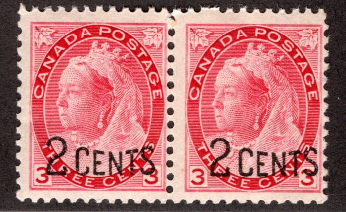 Scott 88, 2c on 3c carmine, Pair, F, MNHOG, Provisional Issues, 1899, Canada Pos