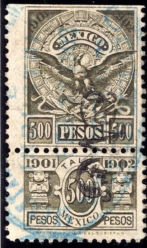 R 212A, Mexico, 1901-1902, 500P, National Arms & Aztec Calendar