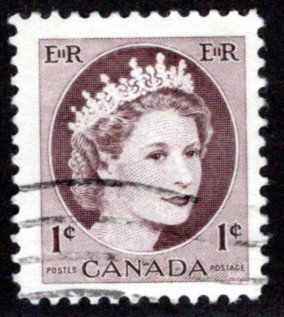 Scott 337iv, 1c violet brown, Used, W2B, HB, QEII Wilding, Canada Postage Stamp