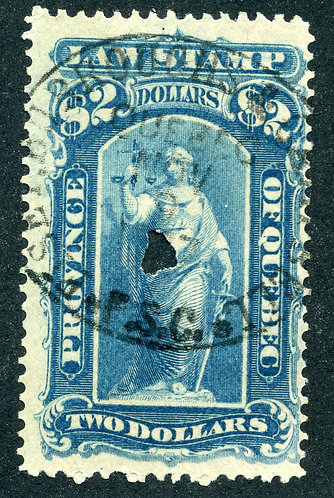 van Dam QL25 - $2 Blue -Used - Quebec 1871-1890 Law Stamp