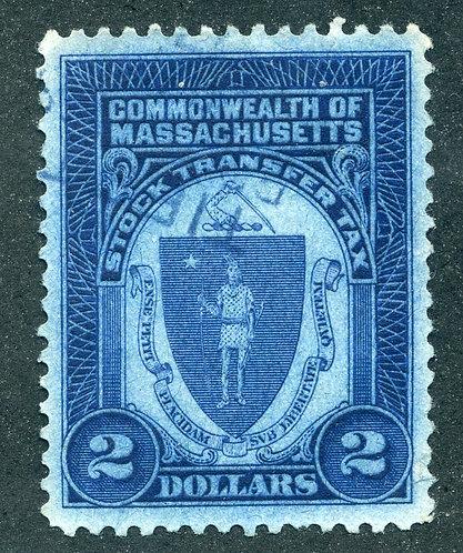 SPS MA ST8a - $2 - Massachusetts Stock Transfer - dark blue (blue) - Used - VF