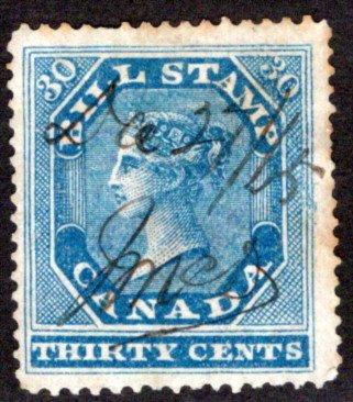 van Dam FB12, 30c, perf 12.7 x 13.5 used, F, Canada Federal Bill Stamp, 1st Issu