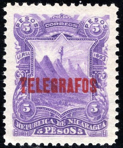 RH35,H35, 5P,violet - MNHOG - SUPERB - Nicaragua Telegraph Revenue