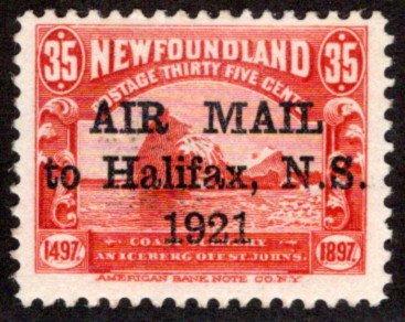 AM4, NSSC, Newfoundland, 35c, AIR MAIL to Halifax, N.S. 1921, MNHOG, F
