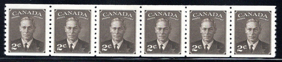 """Scott 298 coil, strip of 6,2c King George VI """"withPostes / Postage"""", Canada"""