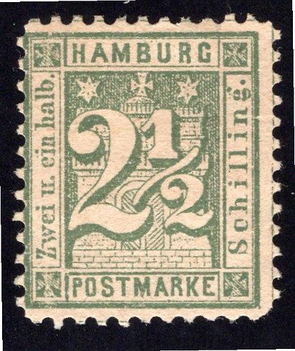 Hamburg Postmarke, 2½ Schilling, Forgery, p. 11.5
