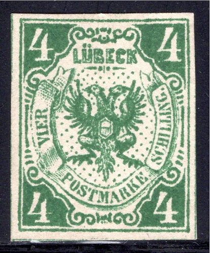 Scott#5, 4 schilling, Lubeck, German State, Forgery, MNG