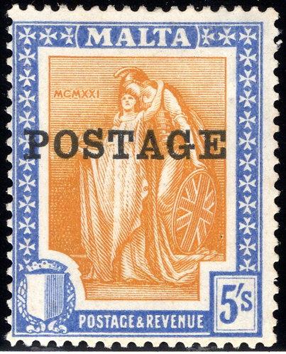 128 Malta, Britannia & Malta, 5sh, ultra & org, MHOG,F