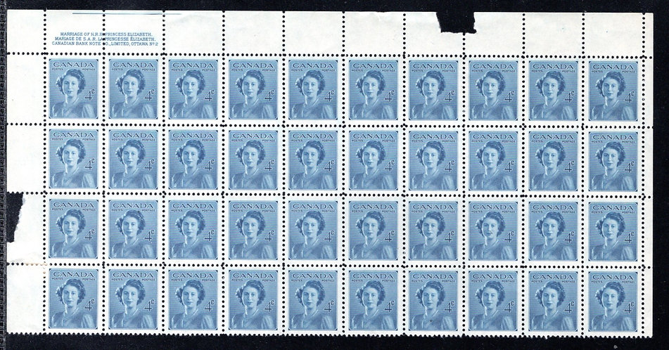 276 Scott, Canada, Part Sheet of 40, MNH, VF, Royal Wedding, Princess Elizabeth