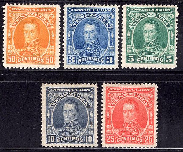 Venezuela, Instruction, Revenue Stamps, 5 centimos - 3 Bolivares, 5 stamps, MLHO