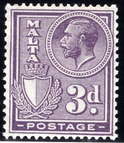 137 Malta, King George, 3p, dark violet, MLHOG,F/VF