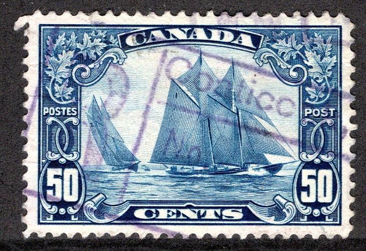 "Scott 158, 50c dark blue, Bluenose, Used, VF, King George V ""Scroll"" Issue"