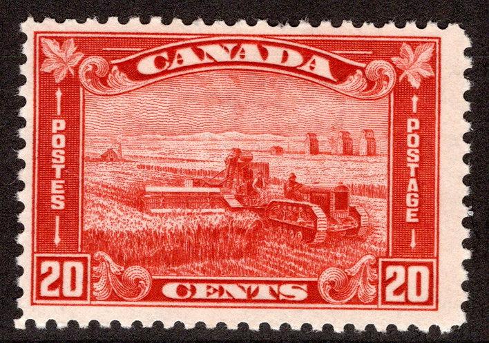 """175 Scott - 20c brown red, F, MNHOG, 1930, """"King George Arch/Leaf Issue"""""""
