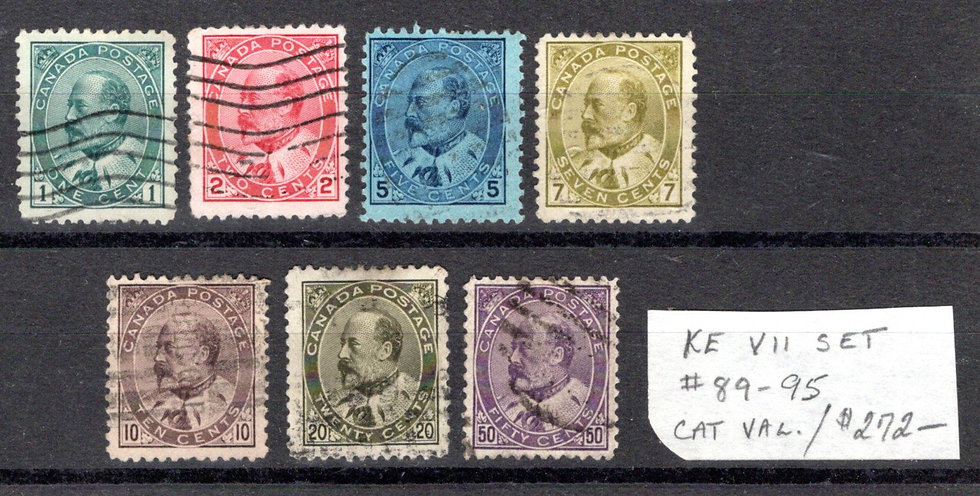 89-95, Scott, Used Set, C/V $272, 95 is SUPERB, King Edward VII