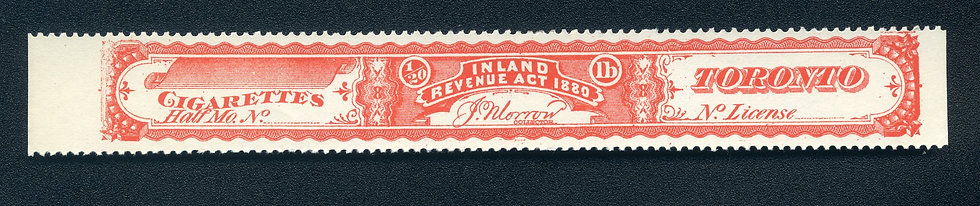 Ryan RC7n - 1880 Cigarette Stamp / Strip - Not More Than 1/20th pound - Red