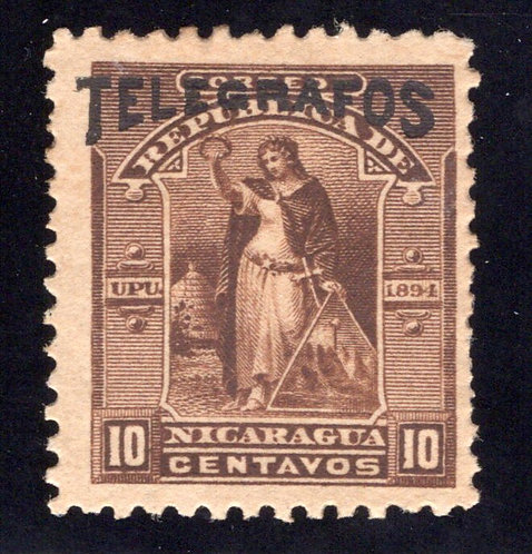 RH#44,H44, Type 12, 10c brown -MLHOG (streaky gum) - Nicaragua Telegraph Reven