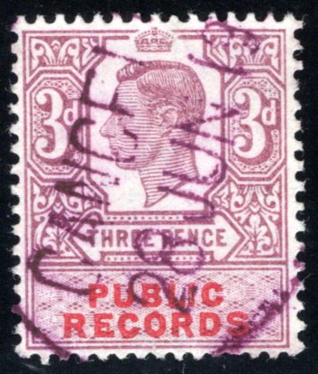 Great Britain, three pence, 3d, public records revenue stamp