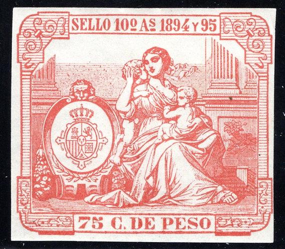 Cuba, #16, 1894, 75 C., Impresed Duty, Allegories, manifiestos , MHOG