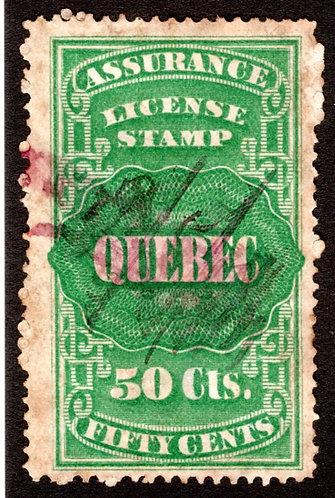 QA10, van Dam, 50c green, Canada, Quebec, License Assurance F/VF, Revenue Stamp
