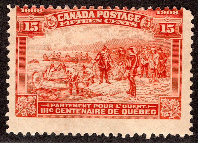Scott 102, 15c orange, Champlain's Departure, MLHOG, Canada Postage Stamp