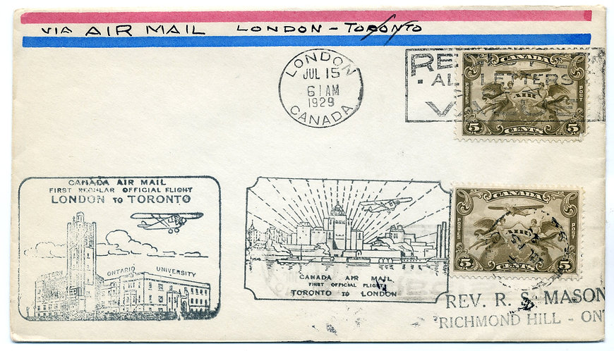 C1 x 2 on FFC From London to Toronto and return on July 15, 1929.