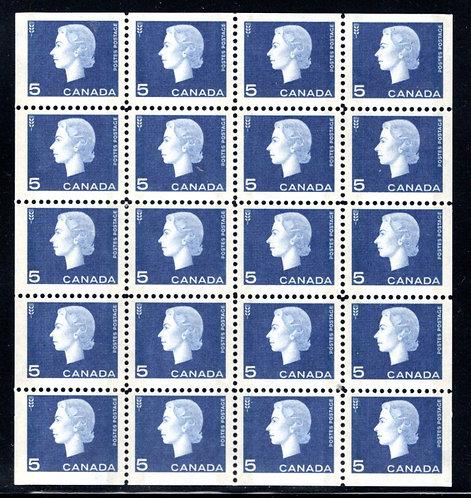 405bq Scott, 5c violet blue, F/VF, QEII Cameo, Mini Pane of (4x5), tagged, W2B